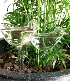 Vanningsfugler i glass 2 stk.
